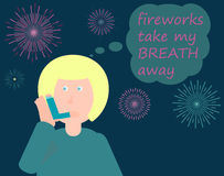 Asthma attack due to fireworks pollution. The woman is using asthma inhaler after having acute asthma attack due to fireworks pollution during new year's eve or Royalty Free Stock Image