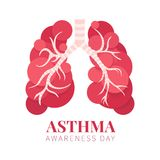 Asthma awareness poster. Asthma awareness day poster with lungs made of bubbles on white background. Bronchial disease symbol. Medical template for pulmonary royalty free illustration