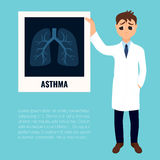 Asthma awareness poster. With a doctor holding lungs x-ray. Bronchial asthma symbol. Respiratory organ disease. Medical staff character infographics. Vector Stock Photos