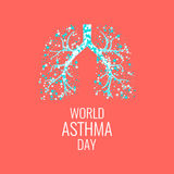 Asthma awareness poster. World Asthma Day poster with illustration of lungs filled with air bubbles. Asthma awareness sign. Asthma solidarity day. Healthy lungs Royalty Free Stock Image