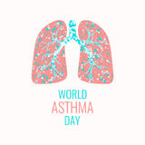 Asthma awareness poster. World Asthma Day poster. Vector illustration of lungs filled with air bubbles. Asthma awareness sign. Asthma solidarity day. Healthy Stock Photos