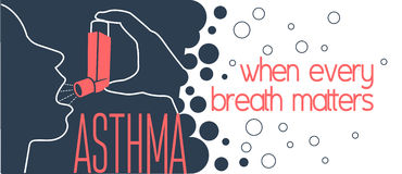 Asthma  banner. Concept of a patient with bronchial asthma in a linear style. Lung symbol abstract banner, flyer design template Stock Photos