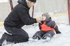 Asthma boy in winter season Stock Photo