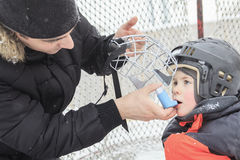 Asthma boy in winter season Royalty Free Stock Image