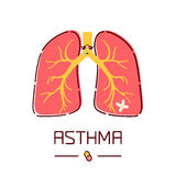 Asthma cartoon poster Stock Photography