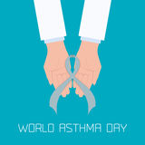 Asthma concept illustration. World Asthma Day concept with doctor hands holding a grey ribbon. Helping hand. Bronchial asthma awareness sign. National asthma day Stock Images