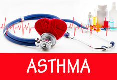 Asthma. The diagnosis of asthma. Phonendoscope and vaccine with drugs. Medical concept stock image
