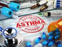 Asthma diagnosis. Stamp, stethoscope, syringe, blood test Stock Image