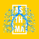 Asthma disease poster. Asthma awareness frame poster with lungs filled with air bubbles on yellow background. Bronchial disease symbol. Medical template for Royalty Free Stock Photo