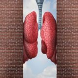 Asthma Health Problem. Concept as difficulty in breathing caused by respiratory distress with the tightening of air passage as lungs constricted with 3D Stock Photos