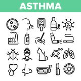 Asthma Illness Vector Thin Line Icons Set royalty free illustration