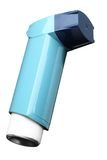 Asthma inhaler. Isolated on the white background Stock Photos