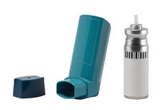 Asthma Inhaler. Parts of an asthma inhaler, isolated on white background. The mouth, cap and spray parts of the asthmatic medicine is separately photographed royalty free stock image