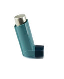 Asthma inhaler isolated on a white background. Royalty Free Stock Photography