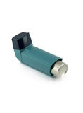 Asthma inhaler isolated on a white background. Stock Photo