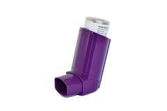 Asthma inhaler. Isolated on a white background Royalty Free Stock Image