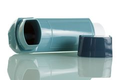 Asthma inhaler isolated on white background. Royalty Free Stock Photo