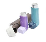 Asthma inhalers. On a white background Stock Photos