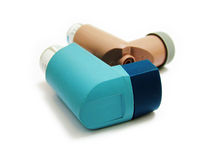 Asthma Inhalers. A pair of Asthma Inhalers Royalty Free Stock Photos