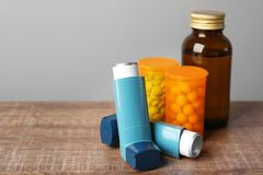 Asthma inhalers with medicines Stock Photos