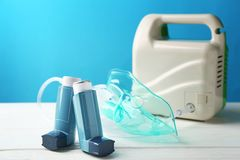 Asthma inhalers and nebuliser Royalty Free Stock Image