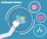 Asthma Medical poster. Hand showingg an asthma inhaler. Asthma Medical poster Stock Photos