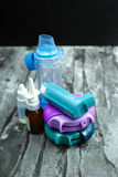 Asthma medication. Set of inhalers and medication. For the treatment of bronchial asthma on a black background Stock Photo