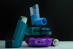 Asthma medication. Set of inhalers and medication Royalty Free Stock Photos