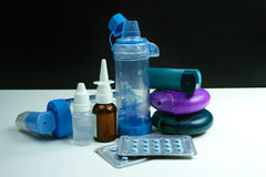 Asthma medication. Set of inhalers and medication Royalty Free Stock Photography