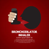 Asthma Patient Using Bronchodilator Inhaler. Vector Illustration Stock Photography
