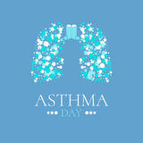 Asthma poster with lungs. World Asthma Day poster. Vector illustration of inhalers and lungs filled with air bubbles. Bronchial asthma awareness sign. National Royalty Free Stock Image