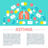 Asthma poster with place for text. Asthma infographic design template with place for text. Asthma treatment symbols-inhalers, pills, syringes and first aid boxes Stock Photography