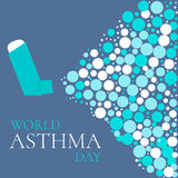 Asthma solidarity day poster. World Asthma Day concept with a spray inhaler. Bronchial asthma awareness sign. National asthma day. Asthma solidarity day. Vector Royalty Free Stock Image