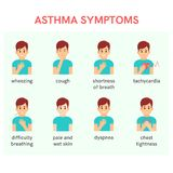Asthma symptoms. Man with dyspnoea.Vector illustration. Asthma symptoms.Man with dyspnoea,tachycardia and cough Vector illustration and infographic stock illustration