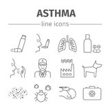 Asthma Symptoms and Symbols. Asthma line icons set. Royalty Free Stock Photos