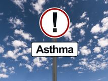 Asthma warning sign. With exclamation mark; blue sky and cloudscape background Stock Photo