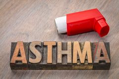 Asthma word abstract in wood type. Asthma word abstract in vintage letterpress wood type with an inhaler Royalty Free Stock Photos