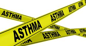 Asthma. Yellow warning tapes. Yellow warning tapes with black words ASTHMA disease of the airways of the lungs. Isolated. 3D Illustration stock illustration