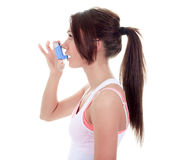 Asthma young adult over white background Stock Images