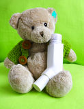 A asthmatic bear. A sick bear with antasthmatic Stock Photos