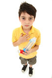 Asthmatic Child with Inhaler and Spacer Chamber stock photos
