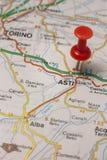 Asti fijó en un mapa de Italia Fotografía de archivo libre de regalías
