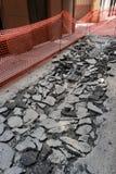 Astillero que reconstruye el pavimento Foto de archivo