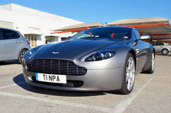 Aston Martin Vantage. Is Britains finest sportscar built in Britain. Seen here sitting in a supermarket car park in Portugal.  Affectionately described as the Royalty Free Stock Image