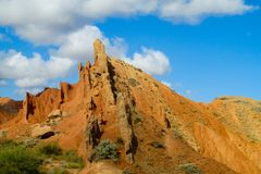 Сastle shaped rock formation in Kirgyzstan Royalty Free Stock Photos