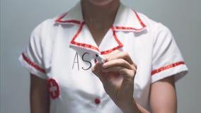 Astma, kobiety doktorski writing na przejrzystym ekranie zbiory wideo