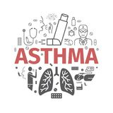 Astma sztandar objawy Astma ikony kreskówki serc biegunowy setu wektor fotografia royalty free