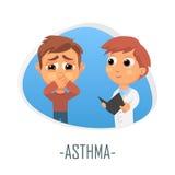 Astmaläkarundersökningbegrepp också vektor för coreldrawillustration Royaltyfri Bild