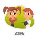 Astmaläkarundersökningbegrepp också vektor för coreldrawillustration Arkivfoton
