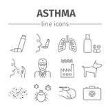 Astmasymptomen en Symbolen Geplaatste de pictogrammen van de astmalijn Royalty-vrije Stock Foto's